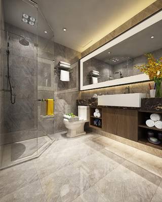 现代卫浴, 洗手台, 花瓶, 马桶, 淋浴间, 现代