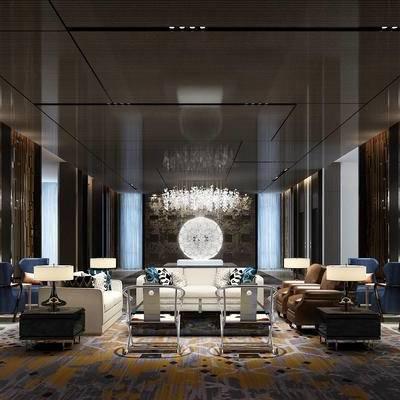 会客区, 多人沙发, 椅子, 吊灯, 茶几, 壁画, 边几, 台灯, 现代
