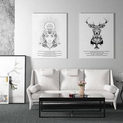 沙发组合, 多人沙发, 茶几, 壁画, 边几, 花瓶, 现代