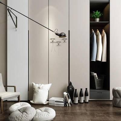 衣柜, 壁灯, 椅子, 沙发凳, 盆栽, 现代
