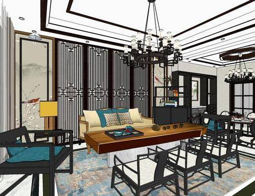 新中式客厅餐厅, 客厅餐厅, 客厅