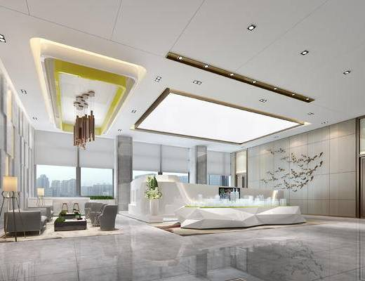 现代售楼部, 吊灯, 壁画, 多人沙发, 沙盘, 现代