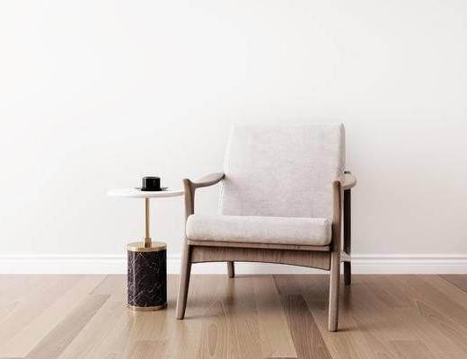 桌椅组合, 单椅, 椅子, 圆几, 新中式