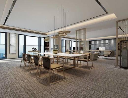 新中式, 办公室, 办公桌, 办公椅, 吊灯, 摆件