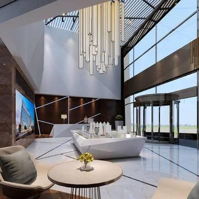 现代售楼部, 吊灯, 椅子, 桌子, 沙盘, 现代