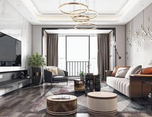 后现代客厅, 客厅, 沙发茶几, 吊灯, 电视柜, 墙饰, 盆栽