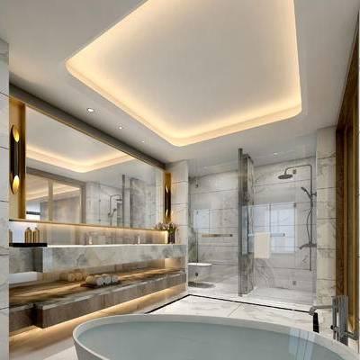 卫生间, 浴缸, 洗手台, 镜子, 淋浴间, 马桶, 现代