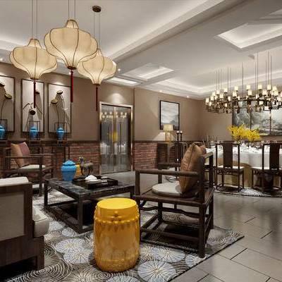 新中式客餐厅, 多人沙发, 茶几, 凳子, 壁画, 台灯, 边几, 桌子, 椅子, 吊灯, 新中式