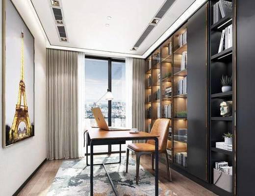 现代简约, 书房, 桌椅组合, 置物柜, 陈设品组合