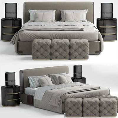 床, 床头柜, 台灯
