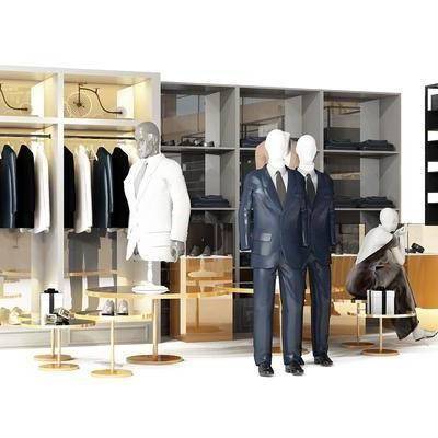 现代男士服饰展架, 现代, 衣服, 展架, 模特