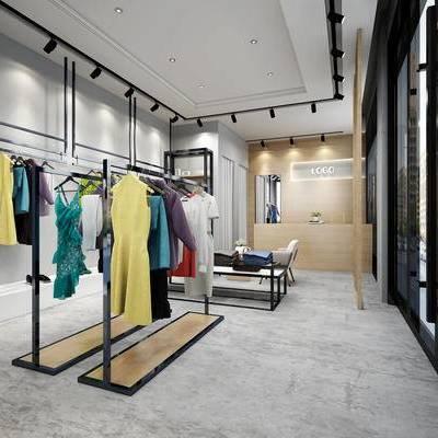 服装店, 射灯, 衣服, 收银台, 现代