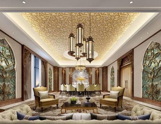 中式客厅, 吊灯, 多人沙发, 椅子, 桌子, 茶几, 壁画, 花瓶, 中式