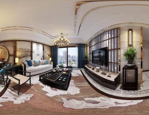 新中式客厅, 电视柜, 边几, 台灯, 壁画, 多人沙发, 茶几, 凳子, 椅子, 桌子, 壁灯, 置物柜, 新中式