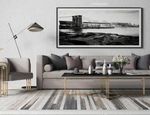 现代, 沙发, 茶几, 落地灯, 挂画, 花瓶, 陈设品