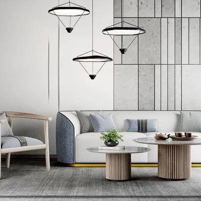 沙发组合, 茶几, 壁画, 吊灯, 椅子, 地毯, 现代