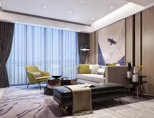 后现代客厅, 壁画, 多人沙发, 茶几, 椅子, 边几, 电视柜, 沙发躺椅, 后现代