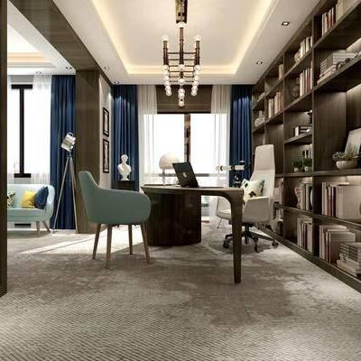 现代书房, 吊灯, 置物柜, 壁画, 多人沙发, 桌子, 椅子, 现代