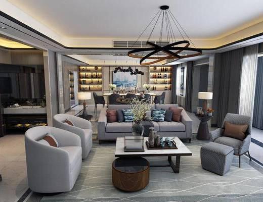 现代客餐厅, 吊灯, 多人沙发, 茶几, 椅子, 边几, 台灯, 置物柜, 桌子, 凳子, 现代