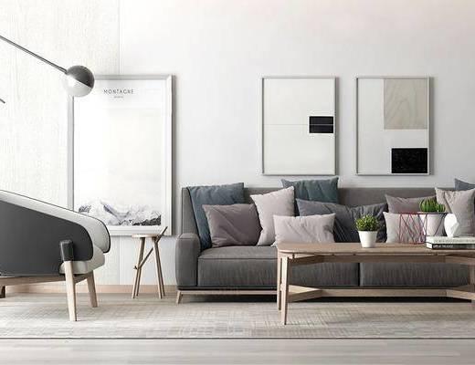 现代简约, 沙发茶几组合, 落地灯, 植物盆栽, 装饰画