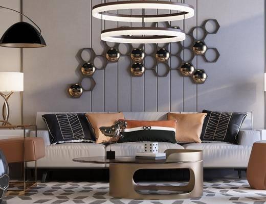 布艺沙发组合, 台灯, 边几, 落地灯, 吊灯, 沙发凳, 地毯, 茶几, 现代