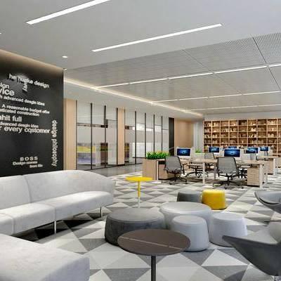 现代办公室, 办公区, 办公桌, 办公椅, 沙发茶几组合, 边几, 储物柜, 台灯, 现代