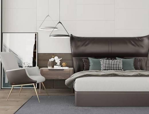 双人床, 床头柜, 椅子, 吊灯, 现代