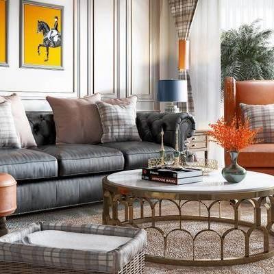 后现代桌椅组合, 多人沙发, 茶几, 沙发椅, 沙发凳, 边几, 绿植, 后现代
