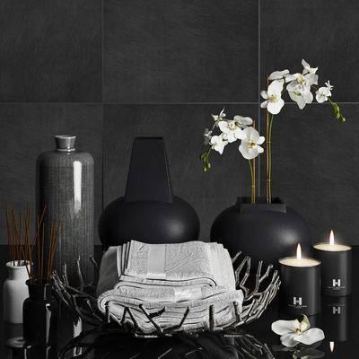 现代简约, 陈设品组合, 烛台, 花瓶