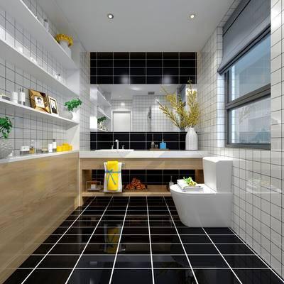 卫生间, 洗手台, 马桶, 置物架, 镜子, 花瓶, 毛巾, 现代