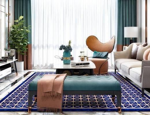 后现代客厅, 多人沙发, 茶几, 沙发凳, 椅子, 电视柜, 边柜, 台灯, 后现代