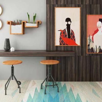 吧台, 吧椅, 壁画, 置物架, 工业风