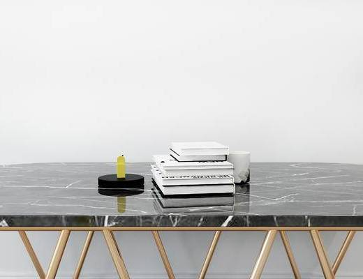 摆件组合, 桌子, 书籍, 现代