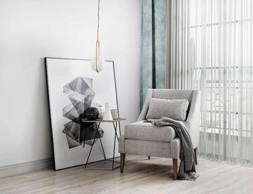 单人沙发, 装饰画, 边几, 吊灯, 北欧