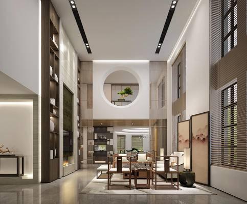 新中式, 客厅, 桌椅组合, 置物架, 陈设品组合