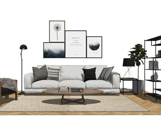 沙发组合, 多人沙发, 茶几, 壁画, 落地灯, 边几, 台灯, 置物架, 椅子, 北欧