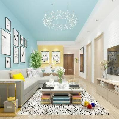 现代客厅, 多人沙发, 电视柜, 茶几, 壁画, 吊灯, 边几, 边柜, 盆栽, 地毯, 现代
