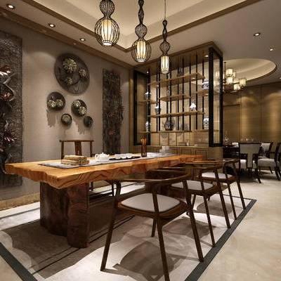 中式, 茶室, 茶具, 吊灯, 墙饰, 餐桌, 椅子, 置物架, 摆件