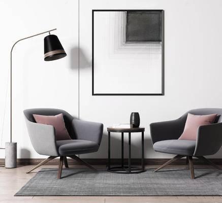 北欧简约, 沙发茶几组合, 落地灯, 装饰画