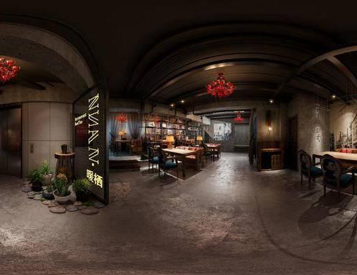 工业风咖啡厅, 桌椅组合, 吊灯, 多人沙发, 壁画, 吧台, 盆栽, 吧椅, 台灯, 壁灯, 置物架, 边柜, 工业风