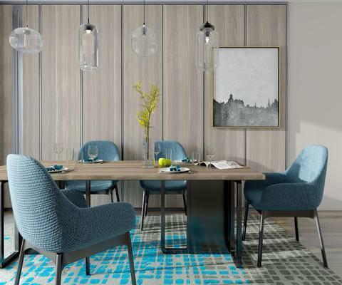 桌椅组合, 桌子, 椅子, 吊灯, 壁画, 花瓶, 北欧