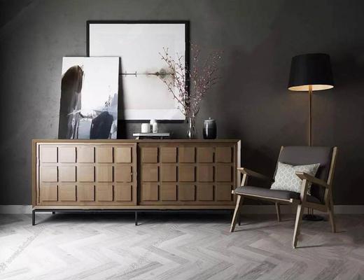 现代简约, 柜子, 椅子, 陈设品组合, 落地灯