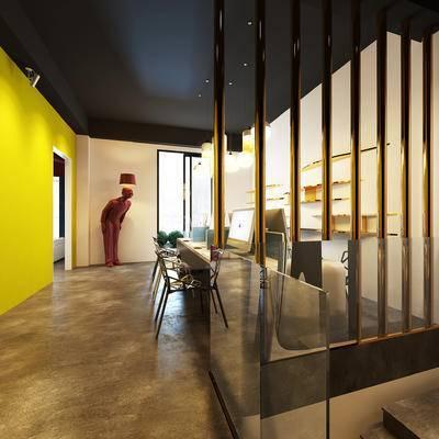 现代办公室, 吊灯, 桌子, 椅子, 置物架, 落地灯, 现代