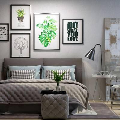 床具组合, 壁画, 双人床, 沙发凳, 边几, 台灯, 椅子, 现代