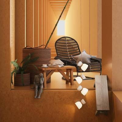 现代藤椅, 藤椅组合, 单椅, 藤椅