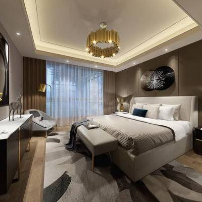 后现代卧室, 吊灯, 双人床, 床头柜, 台灯, 壁画, 落地灯, 床尾塌, 椅子, 盆栽, 地毯, 后现代