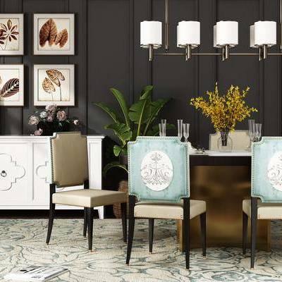 桌椅组合, 吊灯, 桌子, 椅子, 壁画, 边柜, 花瓶, 盆栽, 欧式