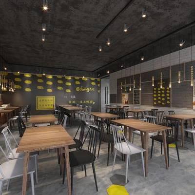 现代咖啡厅, 吊灯, 桌子, 椅子, 吧台, 现代