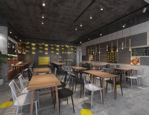 現代咖啡廳, 吊燈, 桌子, 椅子, 吧臺, 現代