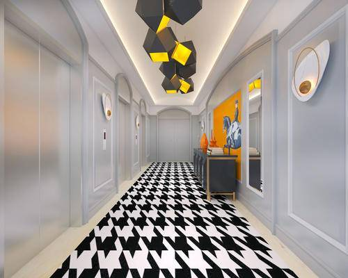 走廊过道, 边柜, 吊灯, 壁画, 简欧